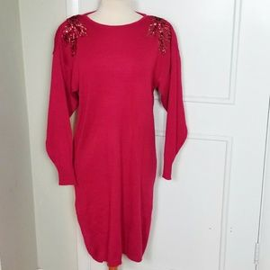 Vintage 80s Sweater Dress with Sequins